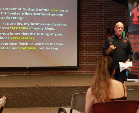 David delivering sermon